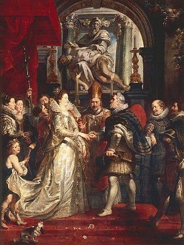 Свадьба Марии Медичи. Холст, масло. 394 × 295 см. Лувр