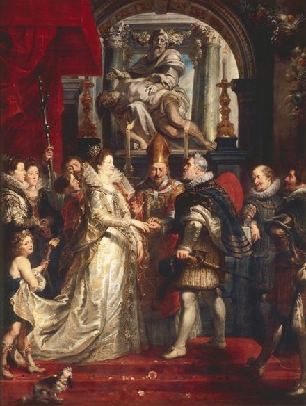 The Wedding by Proxy of Marie de' Medici to King Henry IV by Peter Paul Rubens (1622-25) Peter Paul Rubens 052.jpg