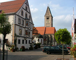 Obergünzburg - Saint Martin parish church and town hall