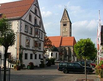 Obergünzburg - Saint Martin parish church and town hall
