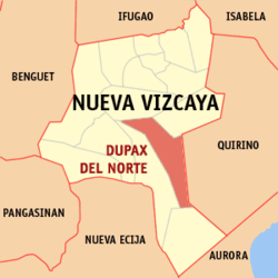 Map of Nueva Vizcaya showing the location of Dupax del Norte.