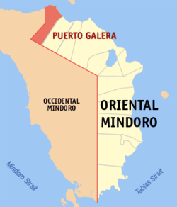 Map of Oriental Mindoro with Puerto Galera highlighted