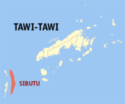 Map of Tawi-Tawi with Sibutu highlighted