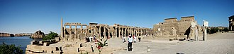 Philae - Panoramic view at the Philae Temple, at its current location on Agilkia Island