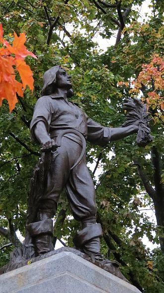 Louis Hébert - Detail of statue atop memorial
