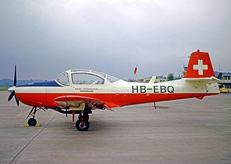 Piaggio P.149 - Piaggio P.149E of the Swissair Flying School at Bern (Belp) airfield in 1973