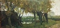 Piet Mondriaan - Willows bordering a watercourse, buildings left and right - A324 - Piet Mondrian, catalogue raisonné.jpg