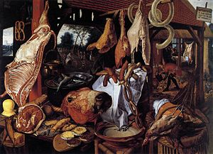 1551 in art - Aertsen – A Meat Stall with the Holy Family Giving Alms, Gustavianum