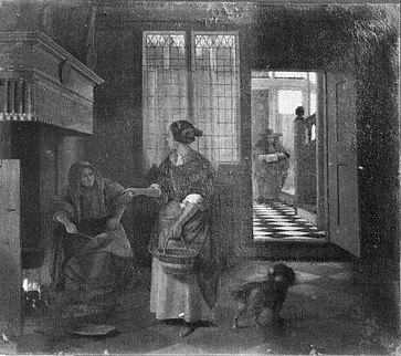 Pieter de Hooch - Interior with two women talking, a man and a dog - Musee Granet.jpg