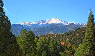 Pikes Peak mountain in the Rocky Mountains, Colorado, United States of America