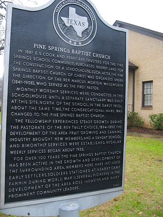 Pine Springs, Smith County, Texas - Image: Pine Springs Baptist Church Plaque