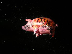 Pink Floyd pigs - An inflatable pig released at the Roger Waters show on June, 2007.