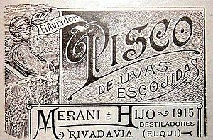 "Pisco - Chilean ""Pisco Aviador"" label from 1915"