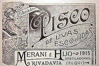 """Pisco - Chilean """"Pisco Aviador"""" label from 1915"""