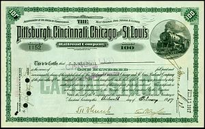 Pittsburgh, Cincinnati, Chicago and St. Louis Railroad - Share of the Pittsburgh, Cincinnati, Chicago and St. Louis Railroad Company, issued 13. February 1917