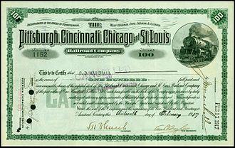 Pittsburgh, Cincinnati, Chicago and St. Louis Railroad - Share of the Pittsburgh, Cincinnati, Chicago and St. Louis Railroad Company, issued 13. February 1917