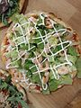 Pizza with shrimp and salad 02.jpg