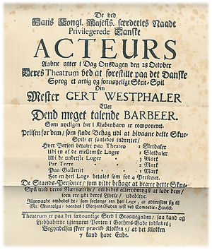 Ludvig Holberg - The oldest extant theater poster for one of Holberg's plays, Mester Gert Westphaler, 1722