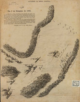 Battle of Curuzú - Map of the part of the Paraguay River where took place the fight of the gunboat Ivaí with the Fortress of Curuzú.