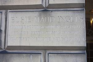 Elsie Inglis - Plaque marking Elsie Inglis' surgery, Walker Street, Edinburgh
