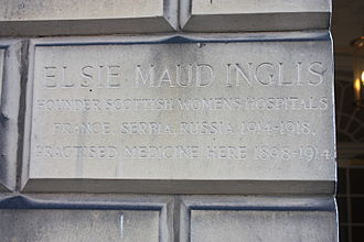 Elsie Inglis - Plaque marking Elsie Inglis' surgery, Walker Street, Edinburgh