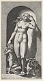 Plate 10- Venus in a niche, standing on a conch shell, with Cupid to her right, from a series of mythological gods and goddesses MET DP855249.jpg