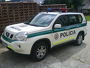 Law enforcement in Slovakia - A Slovak Police Force car in Slovakia