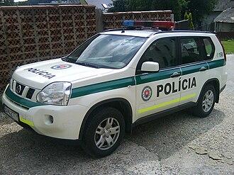 Law enforcement in Slovakia - A Slovak Police Force car in Slovakia