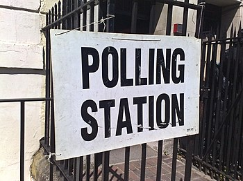Polling station sign, London. UK general elect...