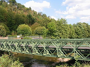 Truss bridge - Bailey bridge over the Meurthe River, France.