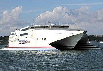 Condor Ferries - The outbound Condor ferry passes through Poole Harbour, Dorset, England, in 2002