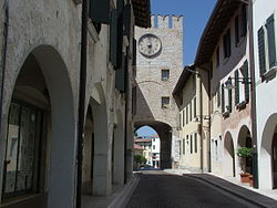Clock tower in Porcia.