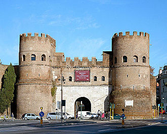 "Porta San Paolo - The gate has been separated from the Aurelian Walls, and looks like a castle, with the two towers and the double entrance. It is, therefore, sometimes called ""Castelletto""."