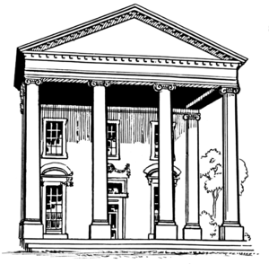 Drafting of the Universal Declaration of Human Rights - A portico with four columns, which Cassin saw as a metaphor for the format of his draft