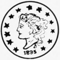 "Coin with a woman's profile with flowing hair and a head band marked ""Liberty"", surrounded by thirteen stars and an 1835 mint mark below"