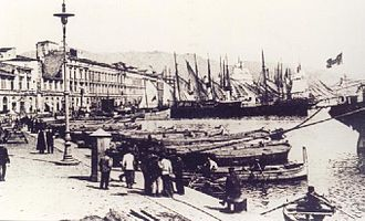 1908 Messina earthquake - The port of Messina as it would have appeared at the time of the earthquake and tsunami This photograph was taken c.1900