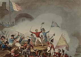 Genl. Sir Thomas Picton storming the moorish Castle of Badajos. March 31st 1812