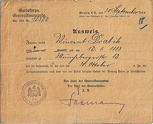 Province of Posen - 1919 German army permit to enter the Polish territory of Posen, just ceded to Poland.