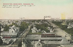 Waxahachie, Texas - Aerial view of Waxahachie, looking north, about 1908