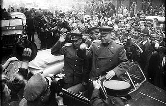 Prague Offensive - Marshal Konev hailed as the Soviets enter Prague, 9 May 1945