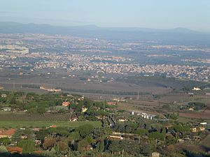 Battle of Lake Regillus - Prataporci site, where the battle took place, view from Monte Porzio Catone