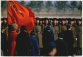 President and Mrs. Nixon's arrival in Peking, China. Nixon reviewing troops at the airport. - NARA - 194414.tif
