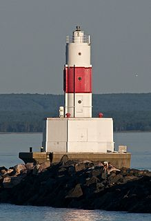 Presque Isle Harbor Breakwater Light lighthouse on the breakwater at northeast side of Presque Isle Harbor in Marquette, Michigan, United States