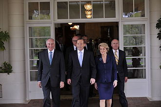 Abbott Government - Senior members of the government following their swearing-in ceremony: Warren Truss, Tony Abbott, Julie Bishop, and Eric Abetz.