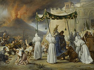 Mount Vesuvius - Procession of Saint Januarius during an eruption of Vesuvius in 1822