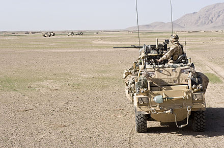 A Jackal armoured vehicle of 3 Commando Brigade, Royal Marines on patrol during Operation Fibonacci near Kuh-e Baba and Shin Ghar, Helmand, Afghanistan RM Jackal Vehicle in Afghanistan MOD 45150600.jpg