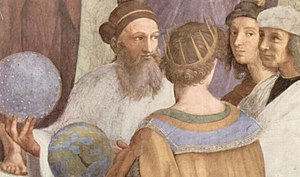 Timoteo Viti - A possible portrait of Viti at the far right of this detail from Raphael's The School of Athens: Strabo or Zoroaster, Ptolemy, Raphael as Apelles and Perugino or Timoteo Viti as Protogenes