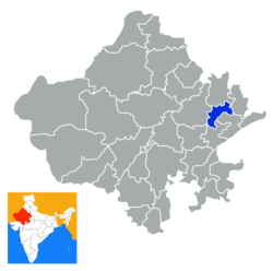 Location of Dausa district in Rajasthan