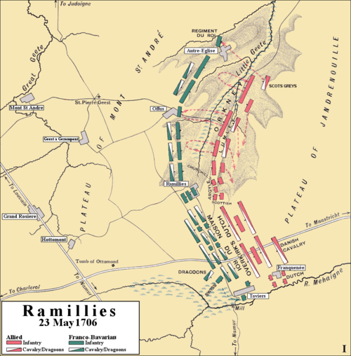 Initial attack at the Battle of Ramillies, 23 May 1706. To the south, between Taviers and Ramillies, both commanders positioned the bulk of their cavalry. It was here where Marlborough made the breakthrough. Ramillies 1706, initial attack.png