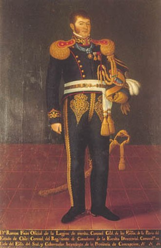 Legion of Merit of Chile - Ramón Freire wearing the neck badge of an Officer of the Legion of Merit of Chile